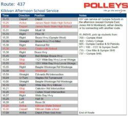 Route 437 – Kilkivan Afternoon School Service