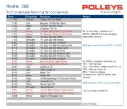 Route 368 – TCB to Gympie Morning School Service